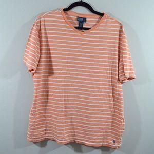 Polo Ralph Lauren XL V-Neck Striped T-Shirt Peach